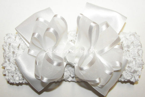Baptism Frilly White Organza Satin Bow Headband