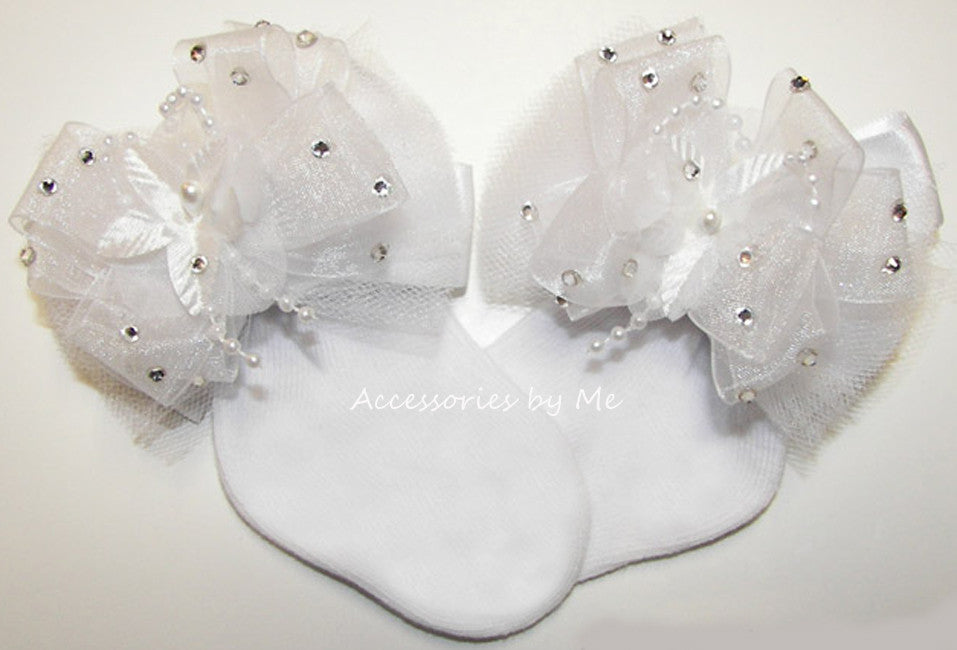 Christening Glitzy White Tutu Bow Socks - Accessories by Me