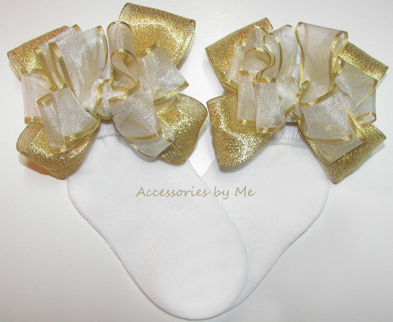 Dressy White Gold Organza Metallic Bow Socks - Accessories by Me