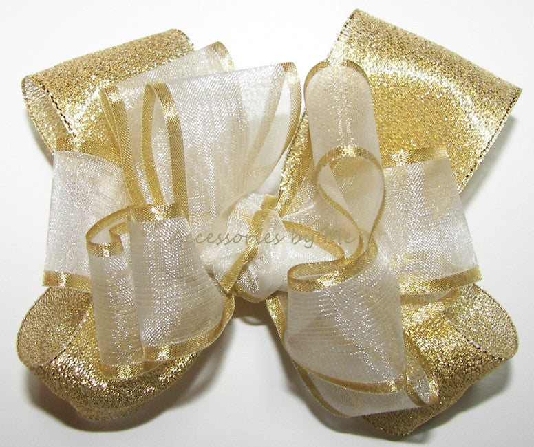 Dressy White Gold Organza Metallic Hair Bow - Accessories by Me