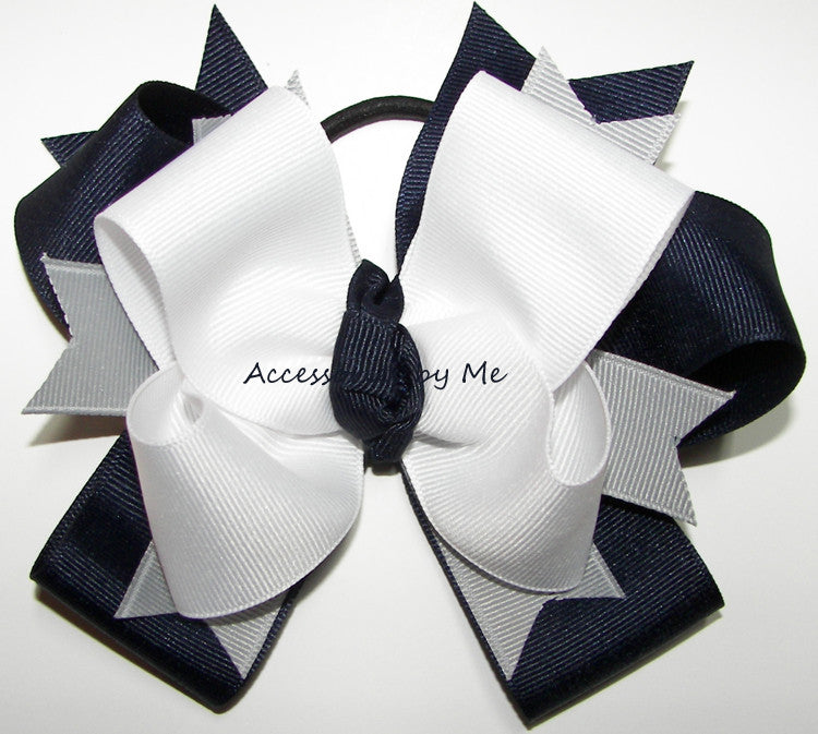 Navy Blue White Gray Cheer Ponytail Bow