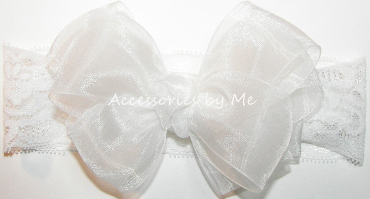 White Organza Bow Wide Lace Stretch Headband