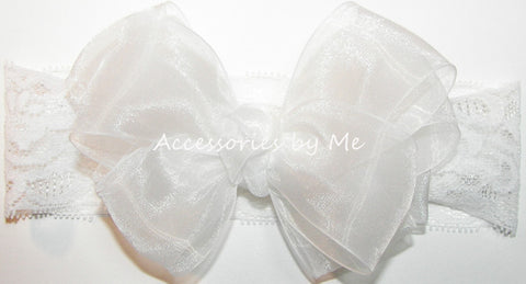 Organza Bow Wide Lace Headband