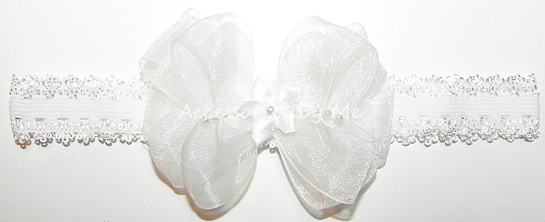 Baptism White Organza Pearl Bow Lace Headband - Accessories by Me