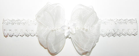 Baptism White Organza Pearl Bow Lace Headband