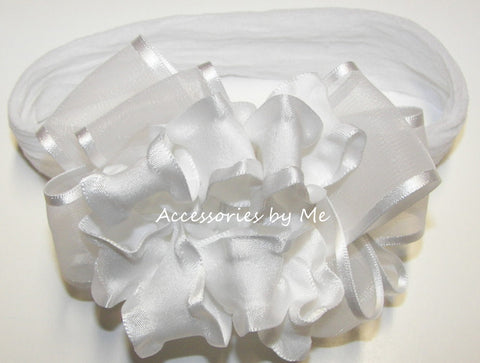 Baptism Frilly White Organza Ruffle Bow Nylon Headband