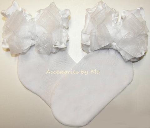White Organza Ruffle Bow Socks
