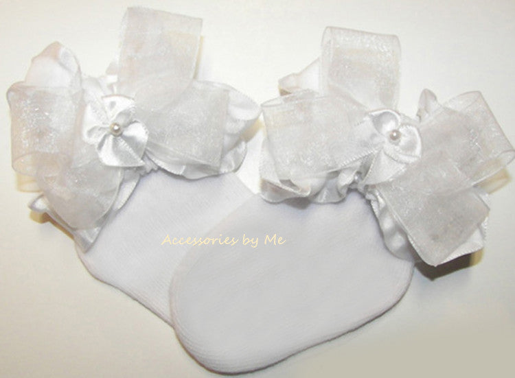 Frilly White Organza Ruffle Pearl Bow Socks - Accessories by Me
