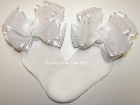 Baptism White Organza Satin Bow Socks