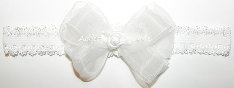 Fancy White Organza Rosette Bow Lace Headband