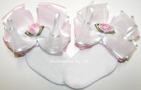 Frilly Pink White Organza Satin Floral Bow Socks