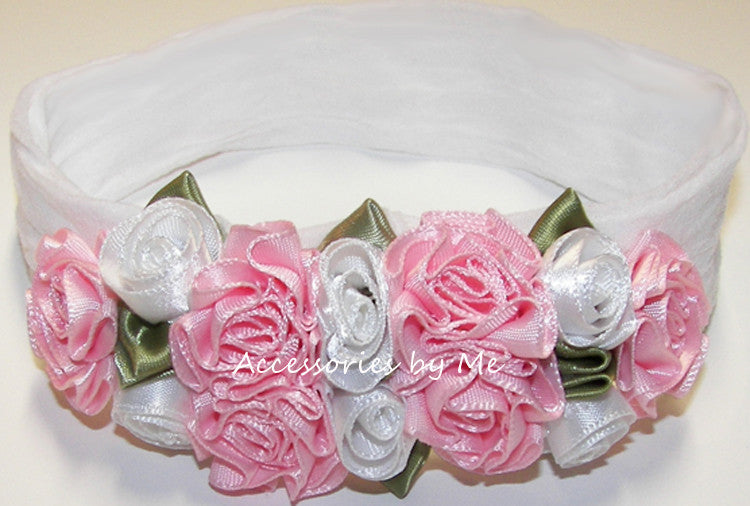 Frilly White Pink Roses Floral Nylon Headband - Accessories by Me
