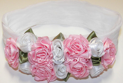 Frilly White Pink Roses Floral Nylon Headband