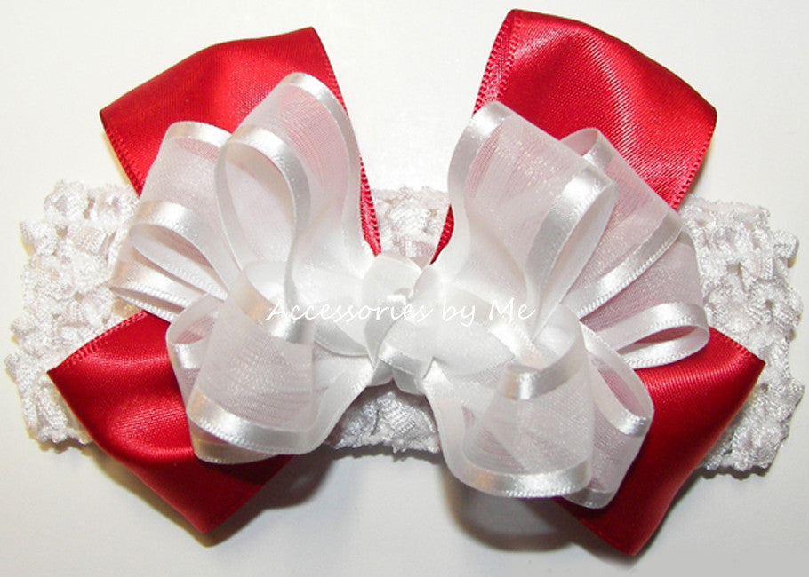 Frilly White Red Organza Satin Bow Headband - Accessories by Me