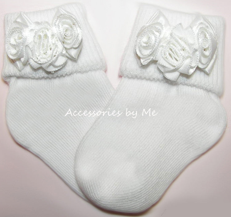 Baptism White Satin Rose Flower Socks - Accessories by Me