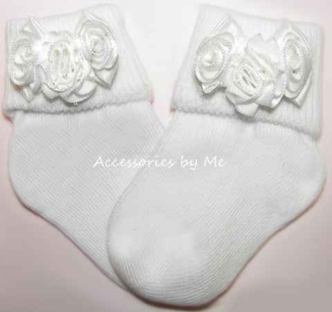 White Rose Flower Socks