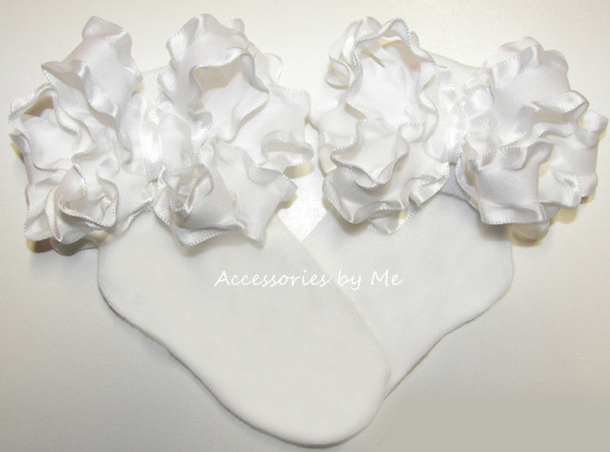 Baptism Frilly White Ruffle Bow Socks - Accessories by Me