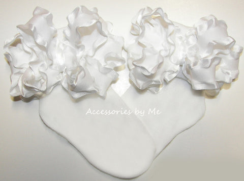Baptism Frilly White Ruffle Bow Socks