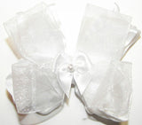 Frilly White Organza Ruffle Hair Bow - Accessories by Me