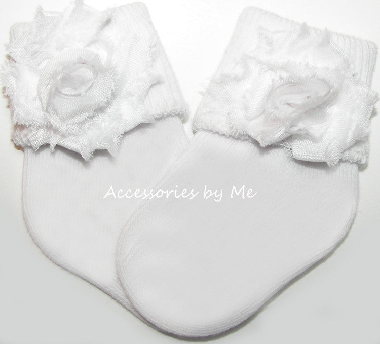 White Shabby Rose Flower Socks