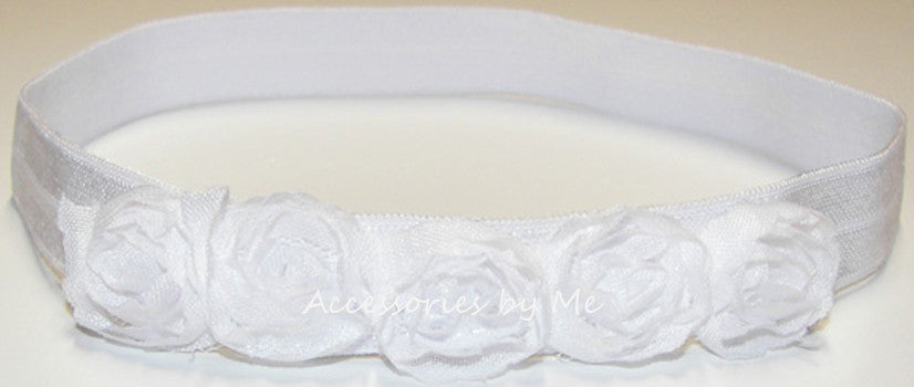White Rose Flowers Headband