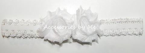 White Shabby Roses Lace Headband