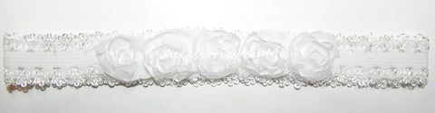 White Shabby Roses Infant Lace Headband