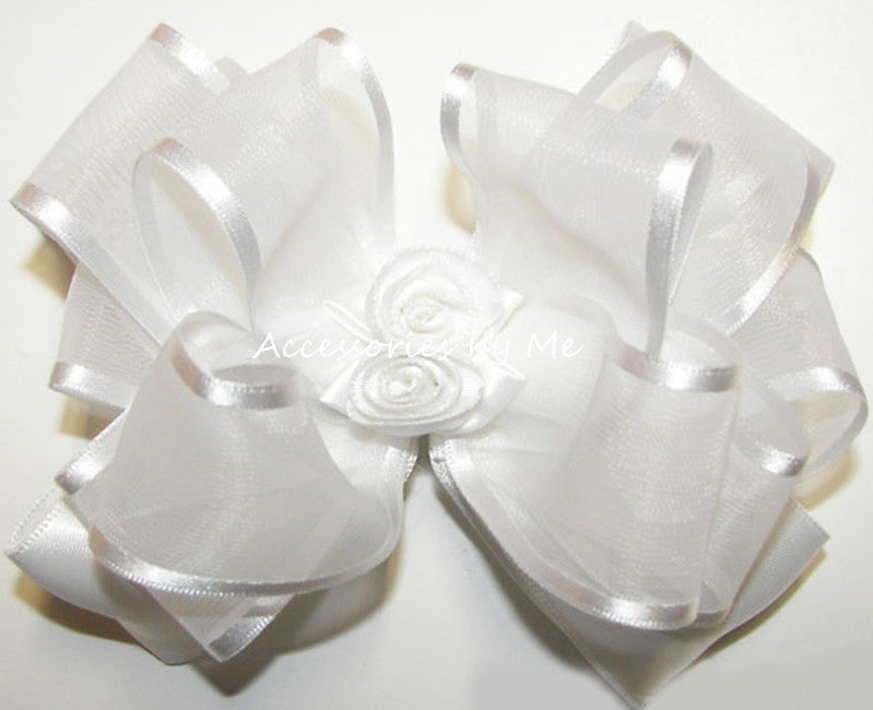 Fancy White Organza Satin Rose Floral Hair Bow - Accessories by Me