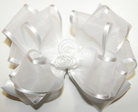 White Organza Satin Rose Floral Hair Bow