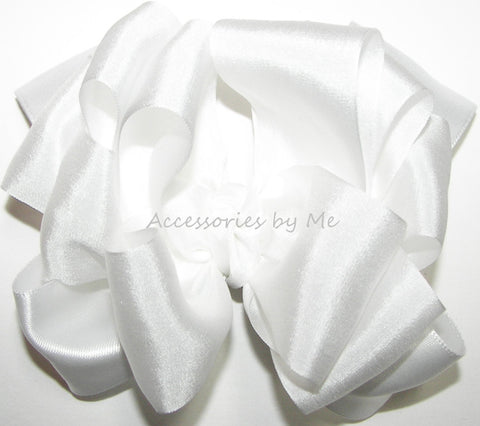 White Pure Silk Satin Ribbon Hair Bow