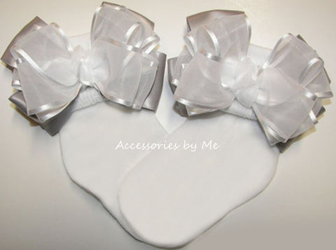 Fancy White Gray Organza Satin Bow Socks