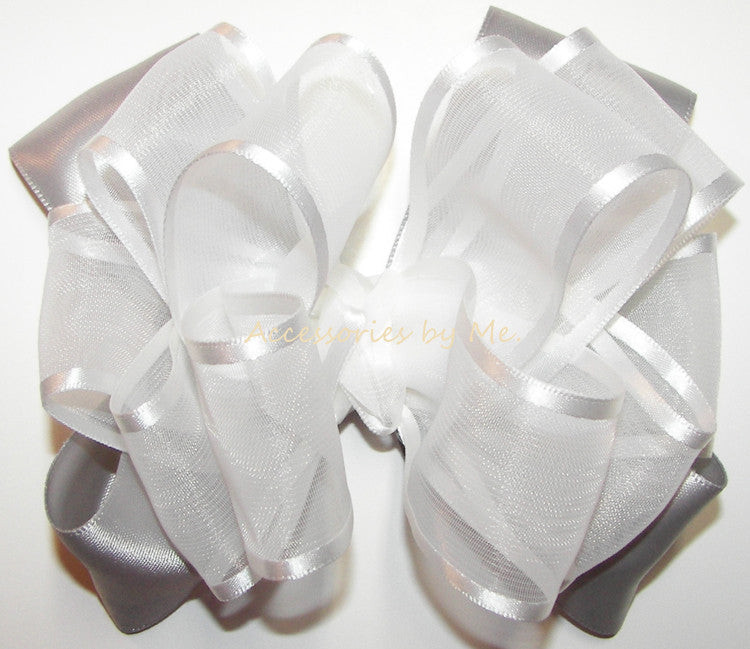 Fancy White Silver Organza Satin Hair Bow - Accessories by Me