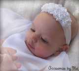 Baptism White Roses Floral Nylon Headband - Accessories by Me