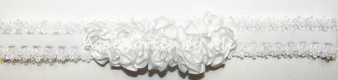 White Rose Flowers Lace Headband