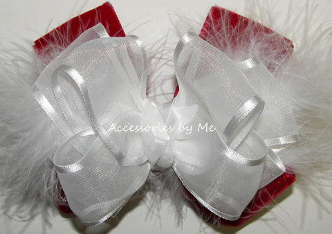 Red Velvet White Organza Marabou Hair Bow