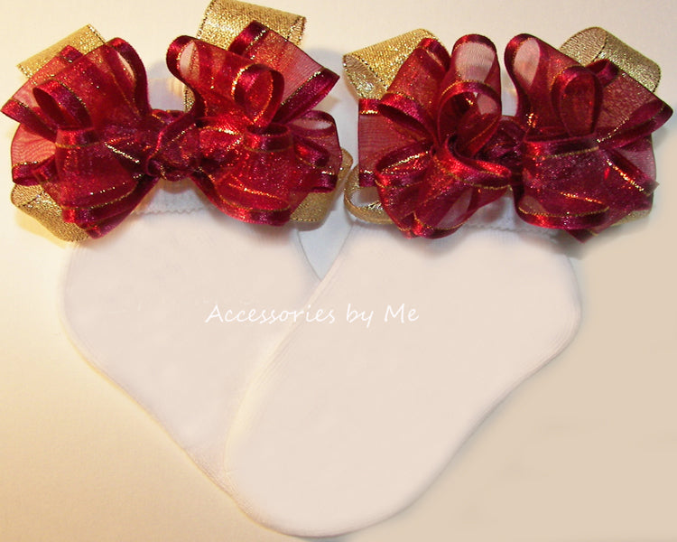 Burgundy Wine Gold Organza Metallic Bow Socks