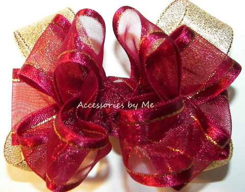 Burgundy Gold Organza Metallic Hair Bow