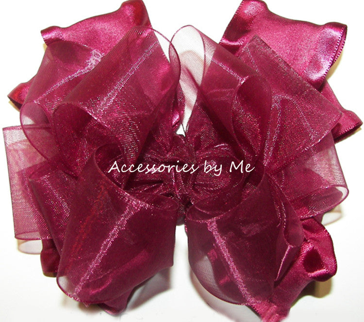 Wine Organza Ruffle Hair Bow
