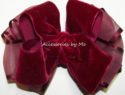 Burgundy Wine Velvet Organza Hair Bow