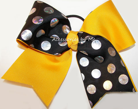 Sparkly Yellow Gold Black Foil Cheer Bow