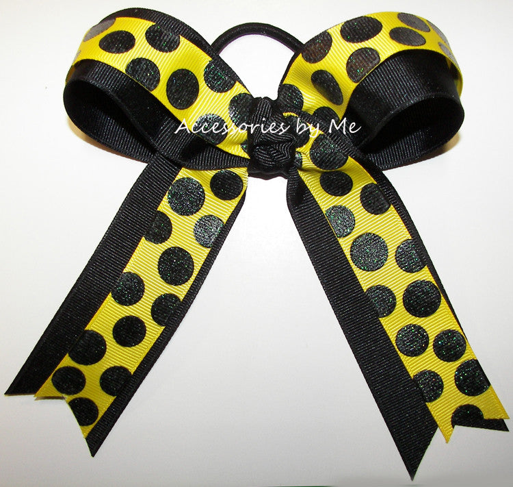 Glitter Yellow Black Ponytail Bow