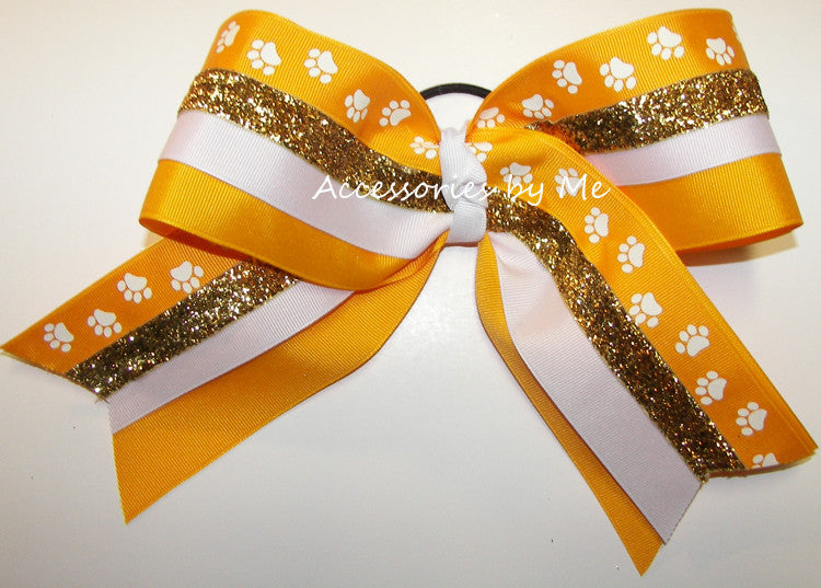 Paw Print Yellow Gold White Big Cheer Bow