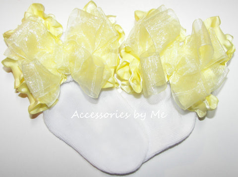 Yellow Organza Ruffle Bow Socks
