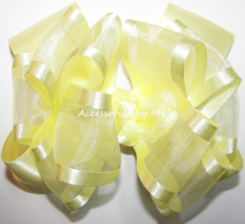 Yellow Organza Satin Trim Hair Bow