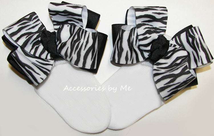 Zebra Black White Bow Socks