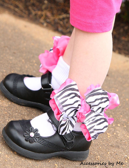 Frilly Zebra Hot Pink Ruffle Bow Socks - Accessories by Me