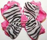 Frilly Zebra Black Hot Pink Ruffle Hair Bow for Girls - Accessories by Me