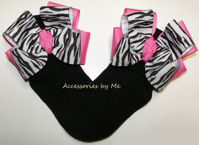 Frilly Zebra Hot Pink Black Bow Socks - Accessories by Me