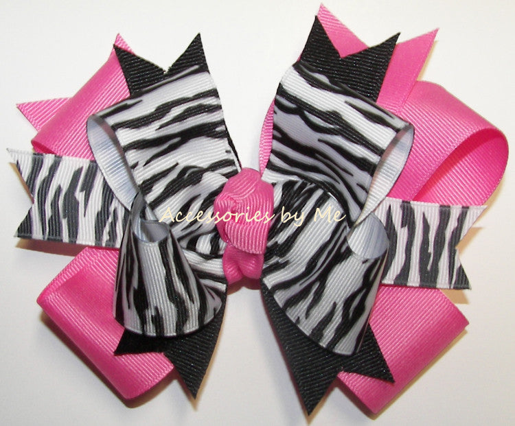 Zebra Hot Pink Hair Bow for Girls