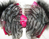 Glitzy Zebra Organza Hot Pink Marabou Hair Bow - Accessories by Me
